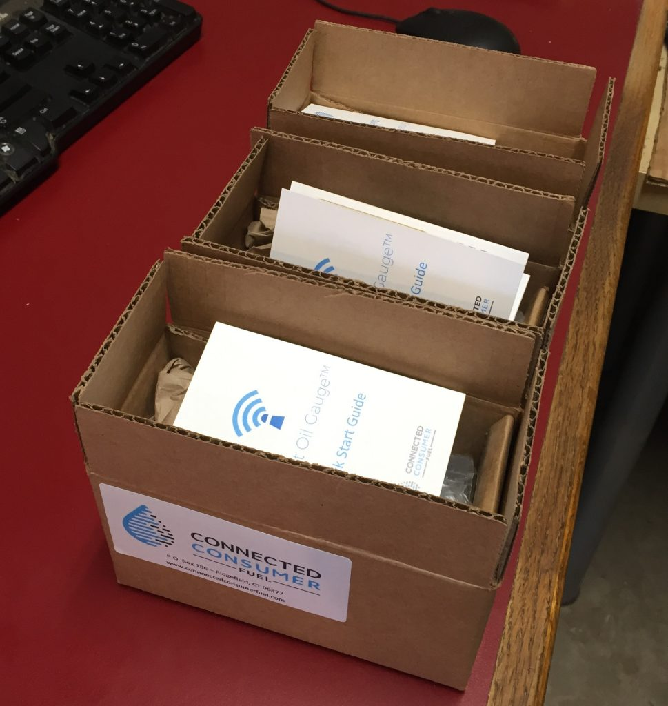 The first several Smart Oil Gauge WiFi Heating Oil Gauges shipping off the production line in 2016.